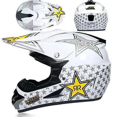 ZYW Off-Road-Profi-Renn Helm Motorradhelm Im Freien Motorradhelm Anti-Schock-Anti-Fällt Voll Helm Motorradhelm Give 3 Geschenke,Style 1,S