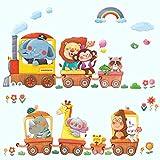 DECOWALL DA-1406A Treni con Animali Adesivi da Parete Decorazioni Parete Stickers Murali S...