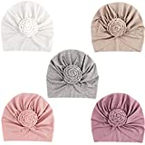 DRESHOW BQUBO 5 Pieces Turban Hat for Baby Girls Infant Toddler Cap Hats with Bow Knot Soft Cute Nursery Beanie