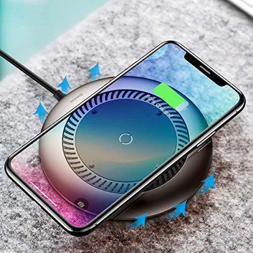 Baseus caricabatterie wireless, caricatore Qi senza fili di 10W [Slim & light] [Controllo di calore con ventola] per iPhone 8/8Plus/x, ricarica rapida per Galaxy S9/S9Plus/S8/Note 8/S7Edge, nero
