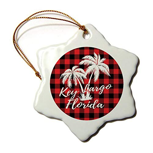 Christmas Ornaments, Key Largo Florida Palm Trees Beach Red Plaid Porcelain Snowflake Ornament Tree Hanging Decor Gift for Families Friends,3 Inch