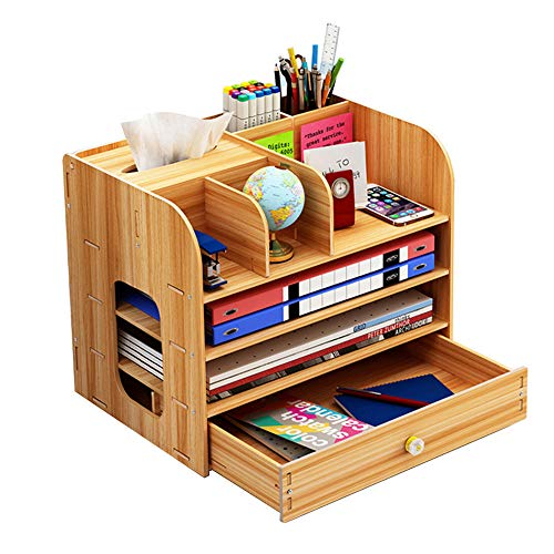 Meipire Wooden - Organizador de escritorio con cajón, multifuncional, para...