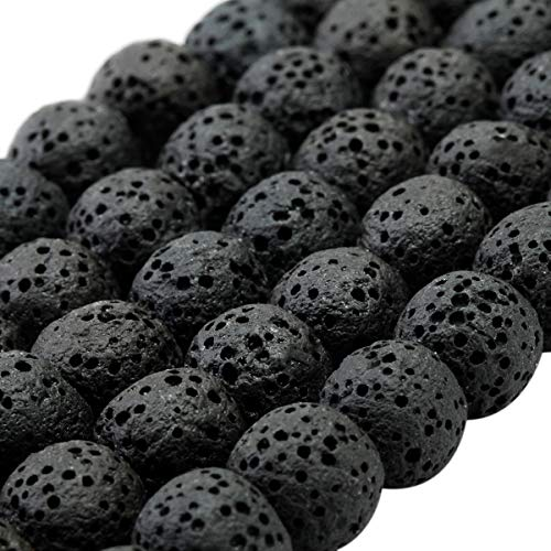 mookaitedecor Noir Perle Pierre Lave 8mm,Rondes Perles en Vrac Pierres pour Bracelet Aromathérapie Collier Fabrication de Bijoux DIY