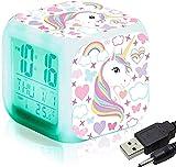 Reloj de alarma digital, reloj de cubo brillante de noche LED para recoger el reloj de la cama para el dormitorio para adultos para niños,A