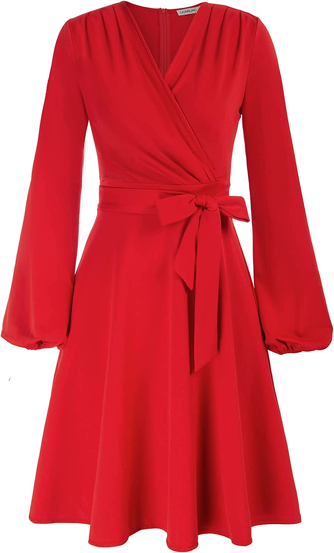 LIUMILAC Women's Wrap A Line Dress Long Sleeve Tie Waist Formal Cocktail Swing Vintage Dress