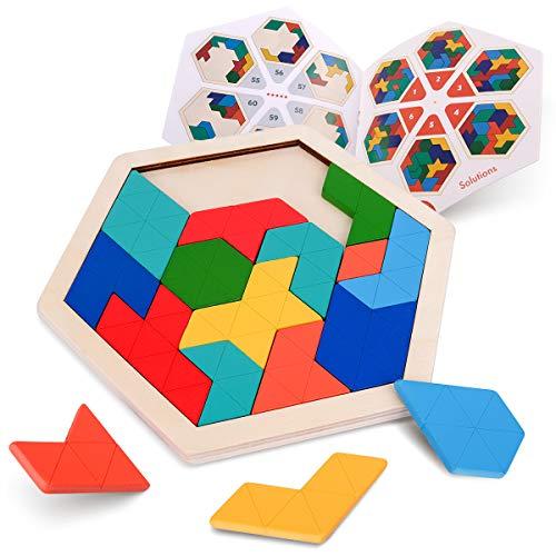 Coogam Holz Kinder Puzzle - Sechseck Form Muster Tetris Block Tangram Logik IQ Spiel STEM Montessori Brain Teaser Spielzeug Geschenk für Jugendliche