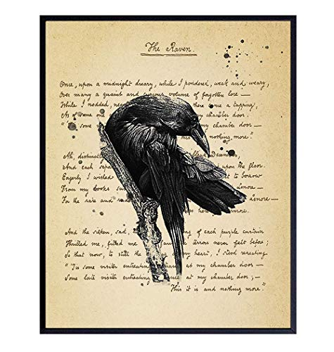 The Raven - Edgar Allan Poe Vintage Wall Art Decor Set - Rustic Retro Home, Apartment or Office Decoration Picture for Living Room, Bedroom - Gift for Goth and Steampunk Fans