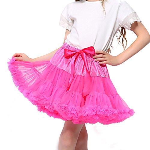 Wraith of East Girl's Dance Tutu Skirts Multi-Layer Pettiskirts Princess Fluffy Ballet Birthday Party Pettiskirt L Fuschia