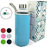 Wenburg Wolton Trinkflasche/Glasflasche mit Edelstahl Deckel 550 ml / 750 ml / 1 l, Neopren Hülle. Sportflasche/Wasserflasche aus Glas. Für Unterwegs (0,75 l, blau)