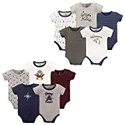 Yoga Sprout Unisex Baby Cotton Bodysuits, Dreamer, Happy Camper 10-Pack Shortsleeve, 6-9 Months