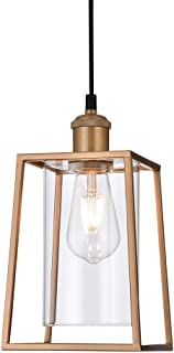 COTULIN Pendant Light,Nordic Metal Iron Frame Square Lantern Mini Pendant Lighting with Cylinder Transparent Glass Lamp Shade for Kitchen Bar Counter,Gold