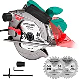 "Circular Saw, HYCHIKA 12.5A Electric Saw with Fixed Speed 5500RPM, 2Pcs Blades(24T+ 40T): 7-1/4', Max Cutting Depth 2-1/2""(90°), 1-4/5""(45°), Laser Guide, Pure Copper Wire Motor, 10Ft Power Cord"