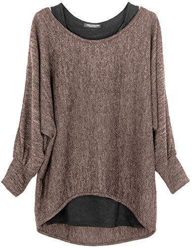 Emma & Giovanni - Damen Oversize Oberteile Tshirt/Pullover (2 Stück) / Made In Italy, M-L,  Braun