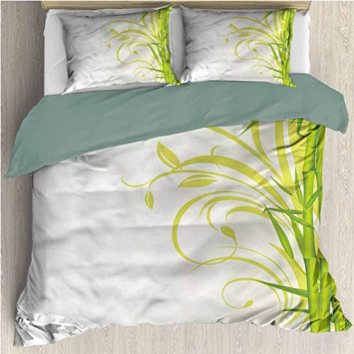 HELLOLEON Green Extra Large Quilt Cover Feng Shui Garden Can be Used as a Quilt Cover-Lightweight (Full)