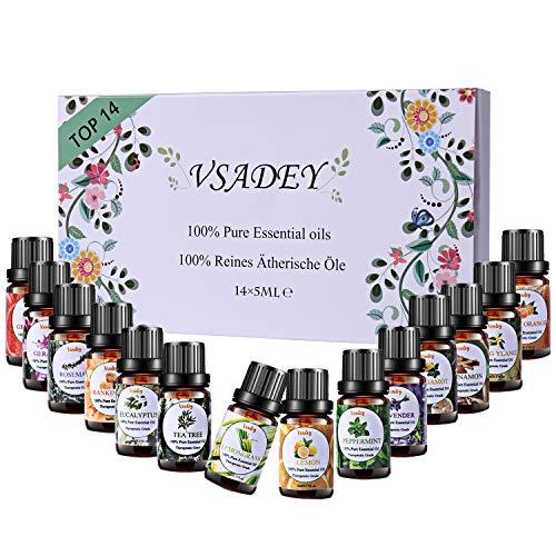 VSADEY Oli Essenziali di Aromaterapia Top 14 Olio Essenziale per Diffusori di...