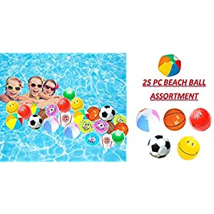 """Play Kreative Assorted Mini Beach Balls - 25 Pack - 6"""" Inflatable Pool Toys Beachballs Party Favor"""