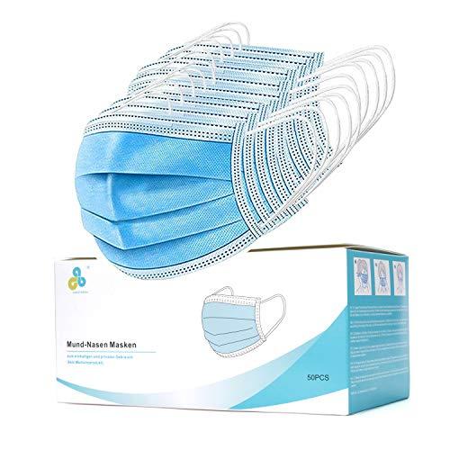 Maske Mundschutz Mund- und Nasenschutz 3-Lagig aus weichen Vlies Schutzmasken bequem CALIYO®ANETHESIA® 50er Packung