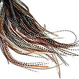Pack de 20 extensiones de pelo de plumas largas naturales con anillas y bucle de aplicaci�...