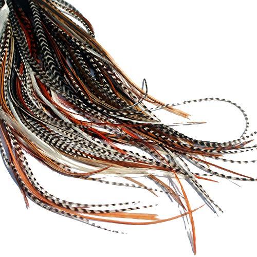 Echte Federn Haarverlängerungen lange Haar Federn mit Ringen und Befestigungsband (B-Klasse), 20 Stück - Mixed Naturals