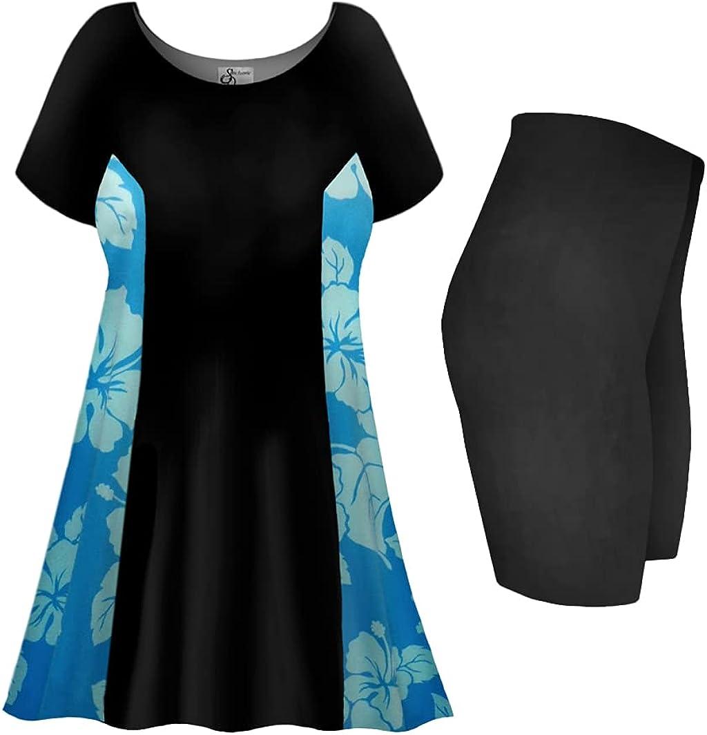 Sanctuarie Designs Plus Size Tall Swimsuit 2-PC Princess Cut Swimdress Uki Uki Azure Print