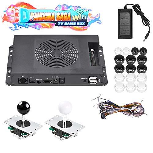 TAPDRA 3D Pandora Saga WiFi Game Board, 3000 in 1 TV Game Box Arcade, Supporto di Oltre 10.000 Giochi in Download, Fino a 4 Giocatori, con Pulsanti e Joystick Kit Completo Fai da Te