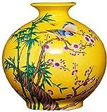Jarrón de cerámica macetas de macetas plantas de cerámica de cerámica d jarrón, cerámica china amarillo pequeño florero, decoración de arreglos de flores estilo chino sala de estar gabinete de televis