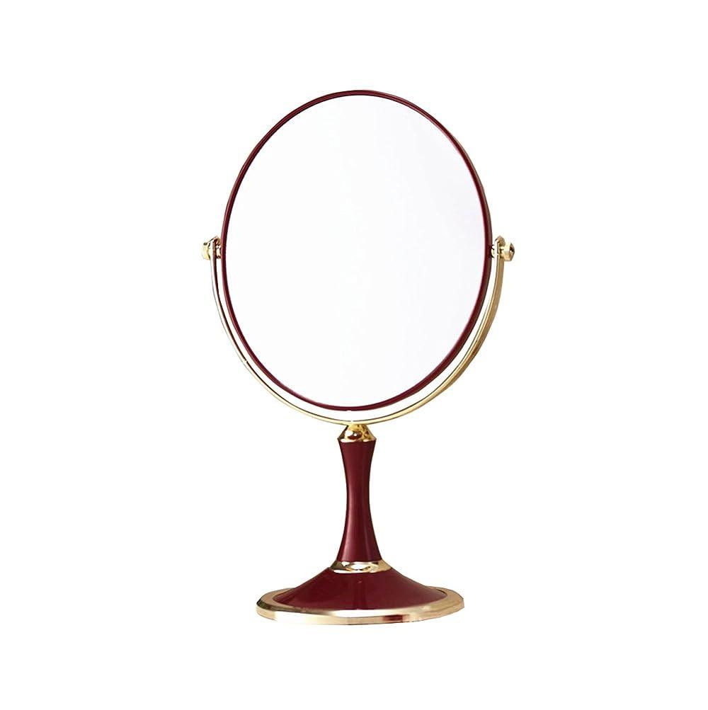 限りなくサスティーン桃DNSJB バニティミラー - 両面1x / 3x拡大鏡 - 360回転赤ウェディングメイクミラー (Size : Oval)