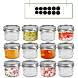FRUITEAM 4oz 12 PACK Regular Mouth Mini Mason Jars with Lids and Bands, Quilted Crystal Jars Ideal for Food Storage, Jam, Body Butters, Jelly, Wedding Favors, Baby Foods