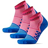Thirty48 Performance Compression Low Cut Running Socks for Men and Women | More Compression Where Needed ([3 Pair] Pink/Blue, Large - Women 9-10.5 // Men 10-11.5)