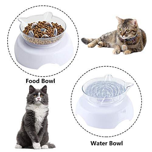 lembrd hondenmand langzame voeder kat voederbak katten voederbak transparante uitneembare voederbak voor huisdieren met stevige PP-basis voor de bescherming van de wervelkolom
