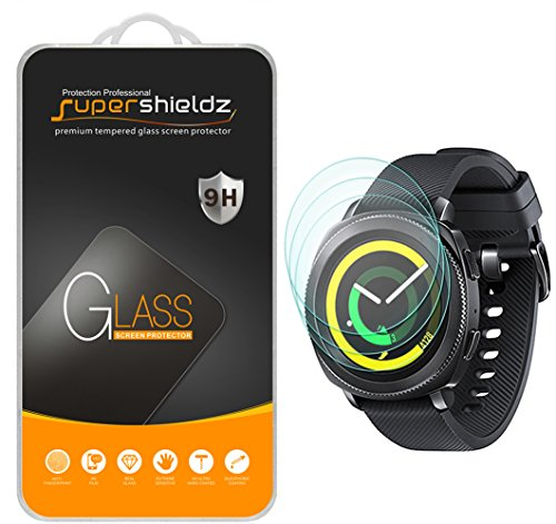 (3 Pack) Supershieldz Designed for Samsung Gear Sport Tempered Glass Screen Protector, (Full Screen Coverage), Anti Scratch, Bubble Free