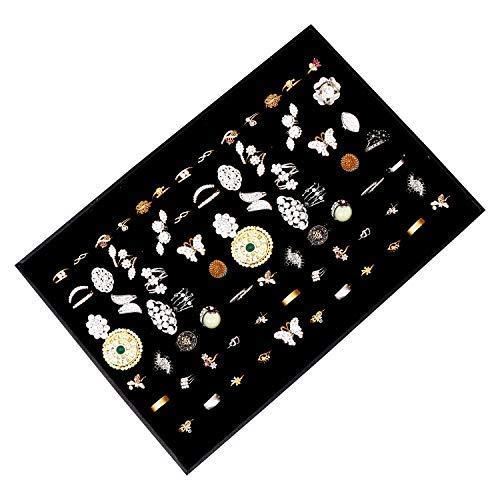 Schmucklade Ringkasten - 34x23cm Elegant Black Velvet Lined Schmuck Aufbewahrung und Präsentation mit 7 Ringrollen für Ringe, Manschettenknöpfe und Ohrringe Organizer