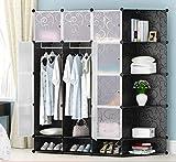 llzshoutao Convenience Portable Wardrobe Cabinet Cube Storage Cube Storage for Clothes Storage Shelf in Bedroom Translucent Decorative Patterns@Black 12 Door + Shoe + Corner Cabinet_Picture Layer