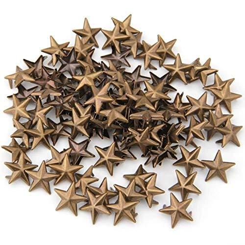 100 Pyramidennieten Gürtel Bronze Stern 15 mm für Schuhe