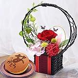 お祝いギフト プレゼント 花とスイーツセット 和風プリザーブドフラワー お芋どら焼き (花籠・あか)