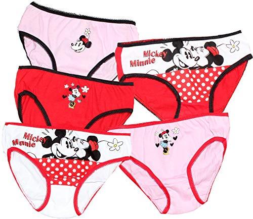Unterhosen für Mädchen von 2 bis 8 Jahren – Motive: Disney's Die Eiskönigin, Minnie, Micky Maus, Prinzessin, 100 % Baumwolle, 5 Stück Gr. 6-8 Jahre , Disney Minnie Mouse - 5er-Pack
