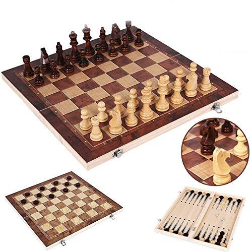 3 in 1 Folding Chess Set, Ajedrez de Madera Inicio Juego de Mesa Tres en uno Viaje Fiesta Entretenimiento Ajedrez, Puzzle Educational Gift for Kids & Adults (17.32×17.32in)