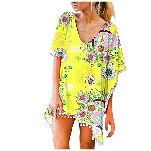 Xmiral Damen Bluse Sommer Drucken Chiffon Quasten Bademode Bikini Kittel Langes T-Shirt Minikleid(b-Gelb,M)