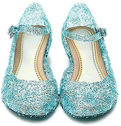 Katara- Zapatos con Cuña Disfraz Princesa Elsa Frozen Niña, Color azul, EU...