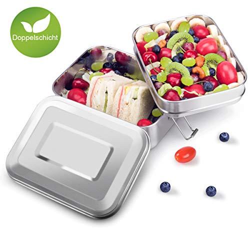 Adkwse Lunch Box, Edelstahl Brotdose mit 2 Fächern, BPA & Plastik Frei Brotzeitbox für Kinder, Erwachsene, Schule, Büro, Ausflug Geeignet 2L