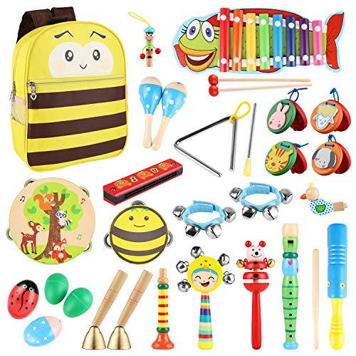 YISSVIC Strumenti Musicali per Bambini 31pcs Giocattolo in Legno Musica Strumenti Bambini Gioco Educativo Imparare Musica Gioco Testati Sicuri con Zainetto