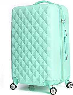 High Quality Diamond Lines Trolley Suitcase/travell Case Luggage/Pull Rod Trunk Rolling Spinner Wheels/ABS+PC Boarding Bag (Color : Red, Size : 26in)