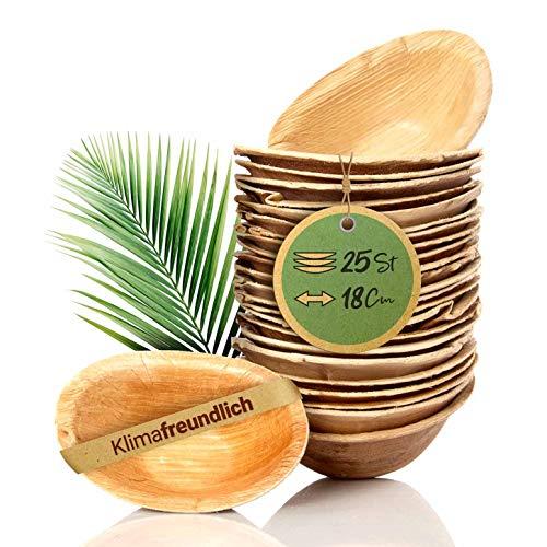 palmenwald© 25 Stück kompostierbare Dipschalen aus nachhatligen Palmblatt ca. 18x11,5cm - Schale Teller Einweggeschirr Partygeschirr Snackschale Saucenschälchen Dippschälchen Dessertschale