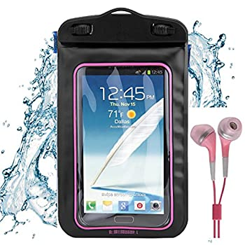 SumacLife Pink Beach Water Sport Waterproof Case for LG Sylo 2 Prepaid LG Rebel K7 Xpression 2 Vn251s Conmos 3 Tribute HD and Color Matching Earbud with Mic