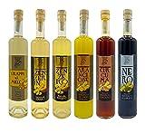 Licor de jengibre, licor de regaliz, licor de naranja, licor de cúrcuma, miel grappa 6 botellas de licor artesanal italiano, digestivo, grappa, bebida alcohólica, 50cl x 6