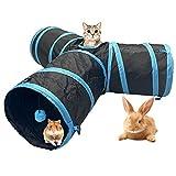 Banydoll Túnel para Gatos Conejo Juguete Tubo 3 Vías Túneles Extensible Plegable Gato Jugar Túnel Casa del Laberinto del Juguete con Pompón para Gato Cachorro Conejo Hámsters(Azul)