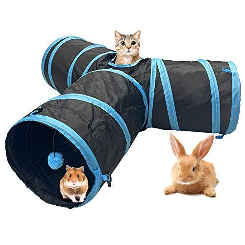 Katzenspielzeug Katzentunnel Kaninchen Tunnel Hamster mit Ball Pet Play Tunnel Tube Katzen Guckloch für Kleine Kaninchen Welpen Frettchen Meerschweinchen (Blau+Schwarz, 3 Wege)