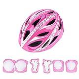 Dilwe - Casco de Bicicleta para niños con Equipamiento de protección Deportivo, Casco de protección Juvenil y Protector de Rodillas y muñequeras para Bicicleta y Longboard, monopatín y Scooter, Rosa