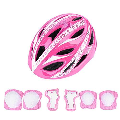 Dilwe Kinder Fahrradhelm mit Sport Schutzausrüstung, Jugendlichen Schutzhelm und Knieschutz und Handgelenkschützer für Fahrrad und Longboard Skateboard Streetboard und Roller(Rosa)