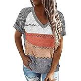 wenyujh Camiseta de manga corta para mujer, cuello en V, camiseta de punto, informal, elegante blusa básica, suelta, de verano, camiseta sin mangas, camisola. A gris. L